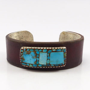 Turquoise and Leather Cuff