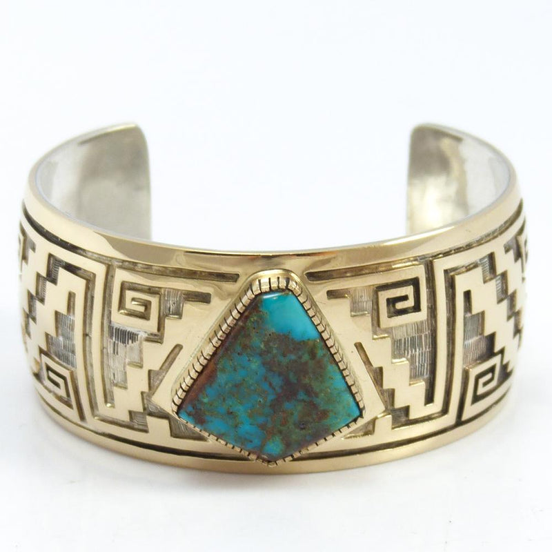 Bisbee Turquoise and Gold Cuff