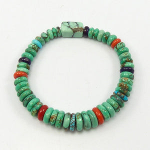 Turquoise and Coral Bead Bracelet