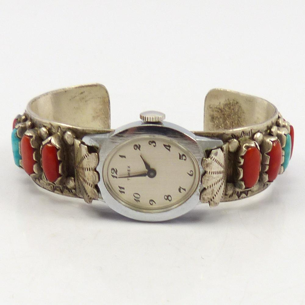 1970s Turquoise and Coral Watch Cuff