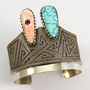 Coral and Turquoise Cuff
