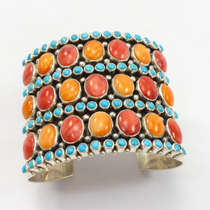 Spiny Oyster Shell and Turquoise Cuff