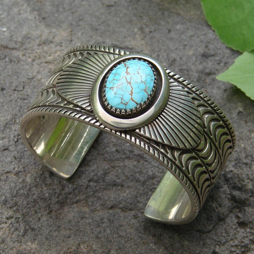 Stamped Silver Cuff with Number Eight Turquoise - Jewelry - Allison Lee - 1