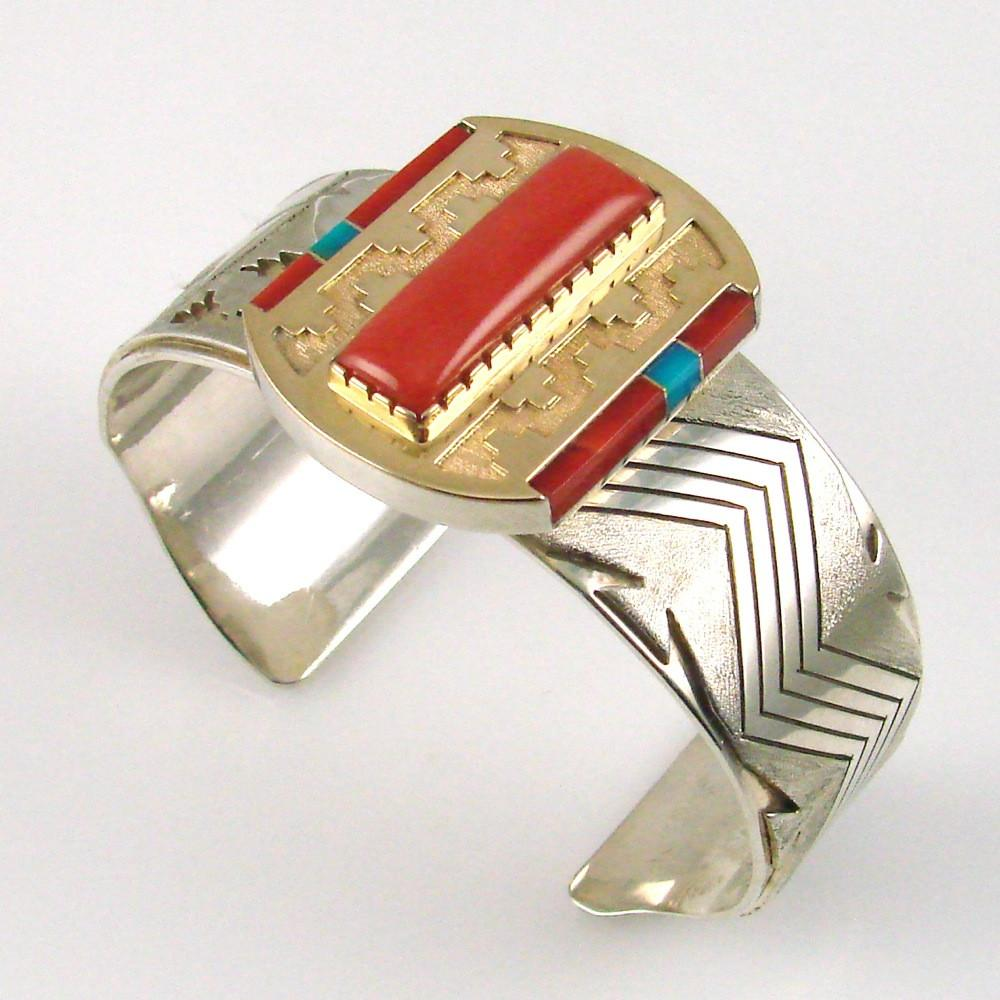Silver Cuff with Multi-Stones in Gold Bezel - Jewelry - Leo Yazzie - 1