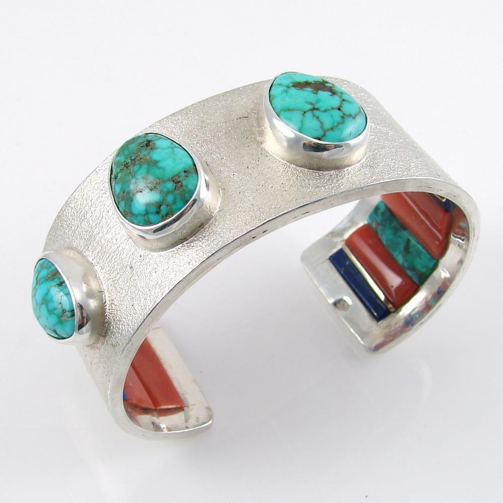 Silver Bracelet with Red Mountain Turquoise and Inside Inlay - Jewelry - Olin Tsingine - 1