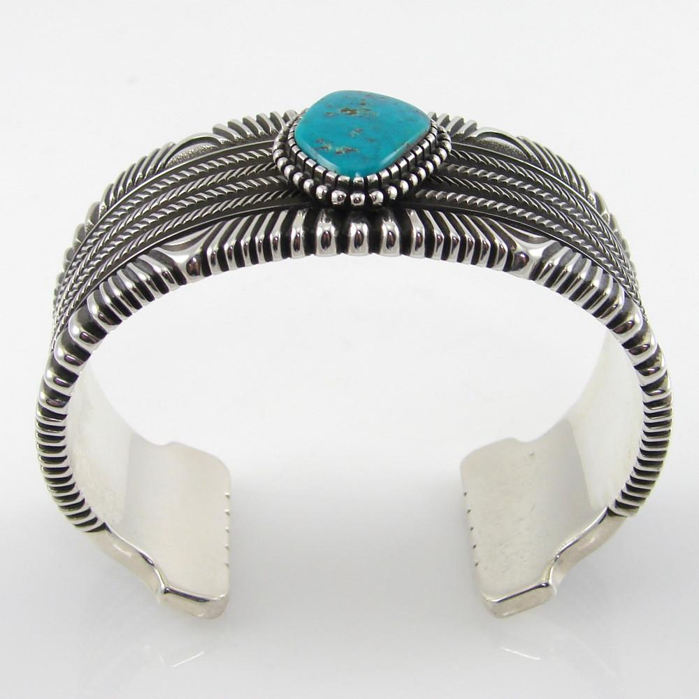 Stamped Silver Cuff with Blue Gem Turquoise - Jewelry - Ron Bedonie - 1