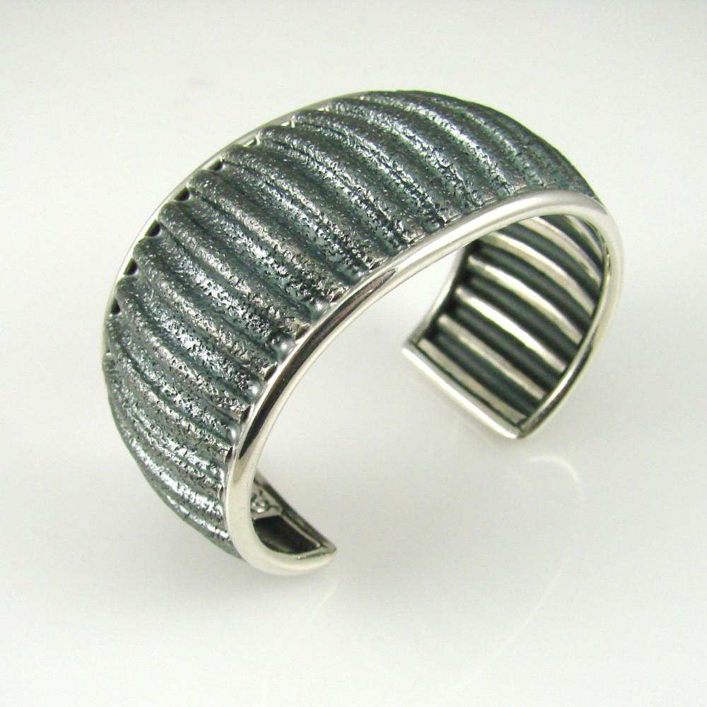Silver Corrugated Cuff - Jewelry - Al Joe - 1