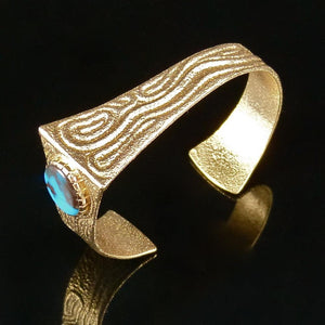 Bisbee Turquoise and Gold Cuff - Jewelry - Ric Charlie - 1