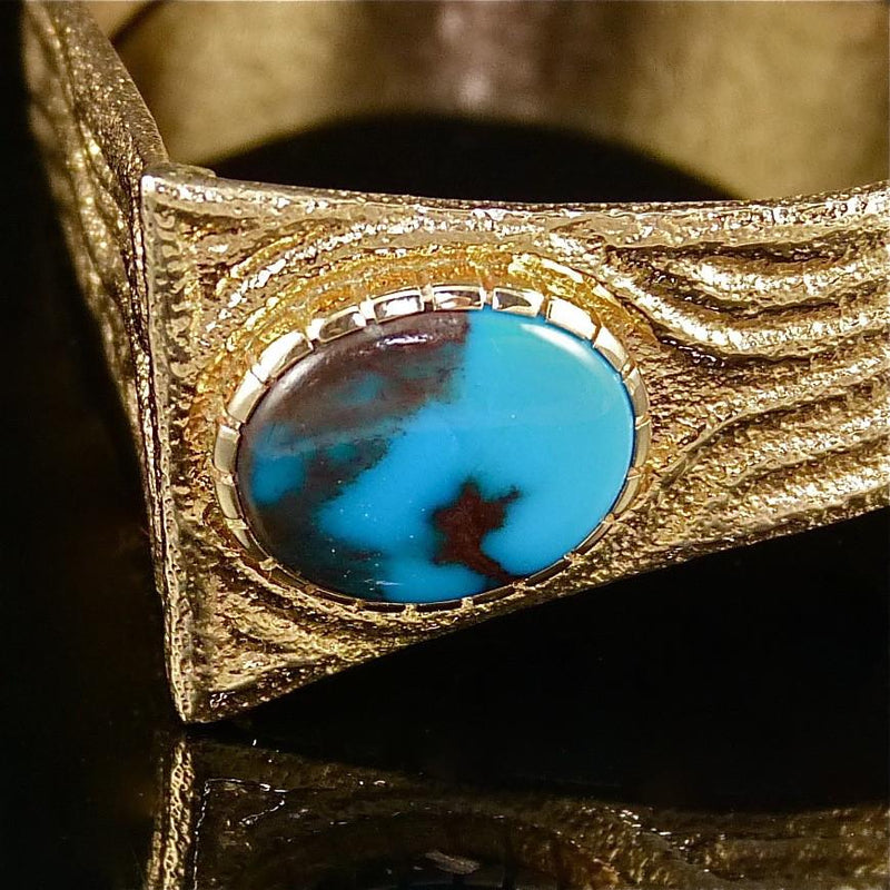 Bisbee Turquoise and Gold Cuff - Jewelry - Ric Charlie - 4