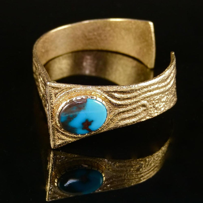 Bisbee Turquoise and Gold Cuff - Jewelry - Ric Charlie - 3