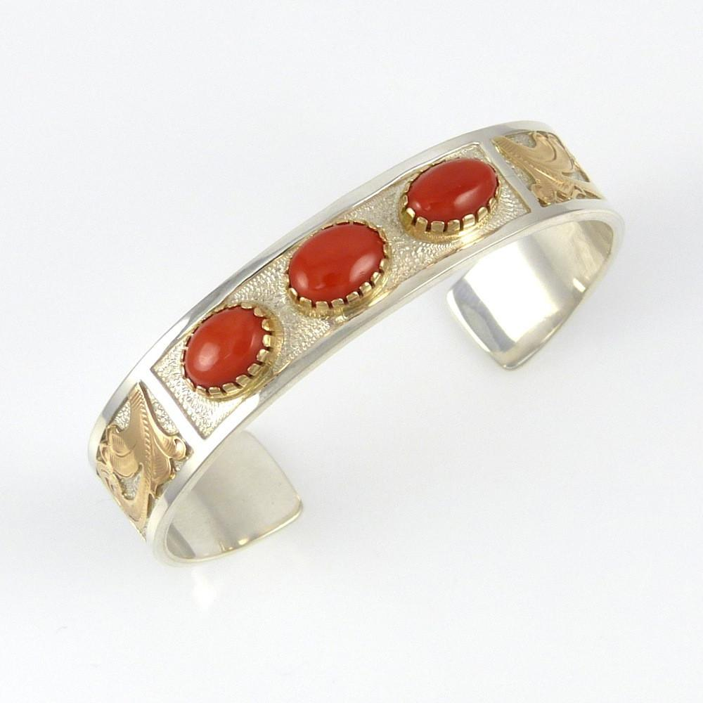 Silver and Gold Bracelet with Coral - Jewelry - Julius Keyonnie - 1