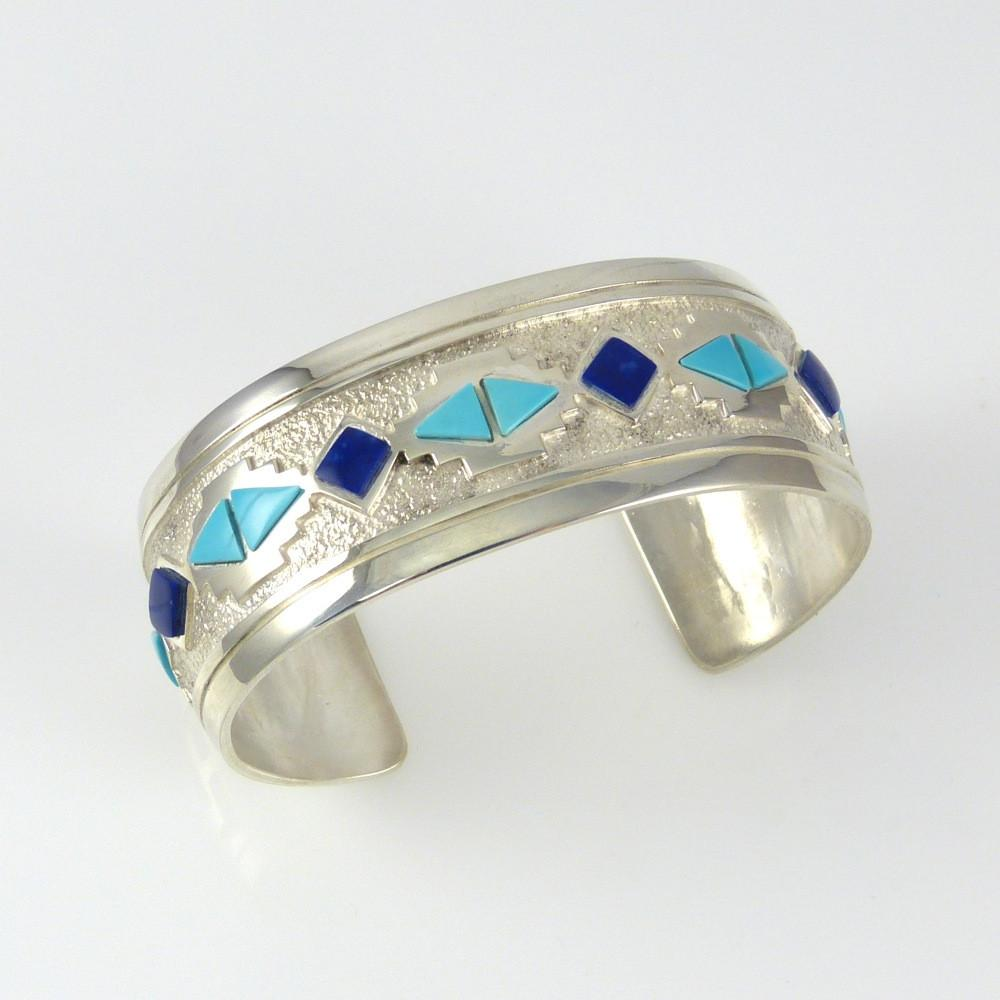 Lapis and Turquoise Cuff - Jewelry - Richard Begay - 1