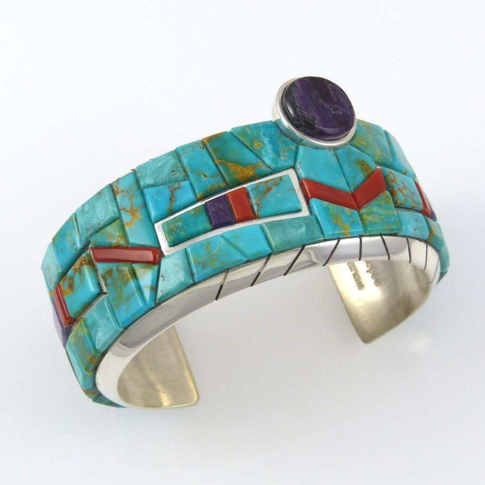 Blue Gem Turquoise, Coral, and Sugilite Cuff - Jewelry - Michael Dukepoo - 1