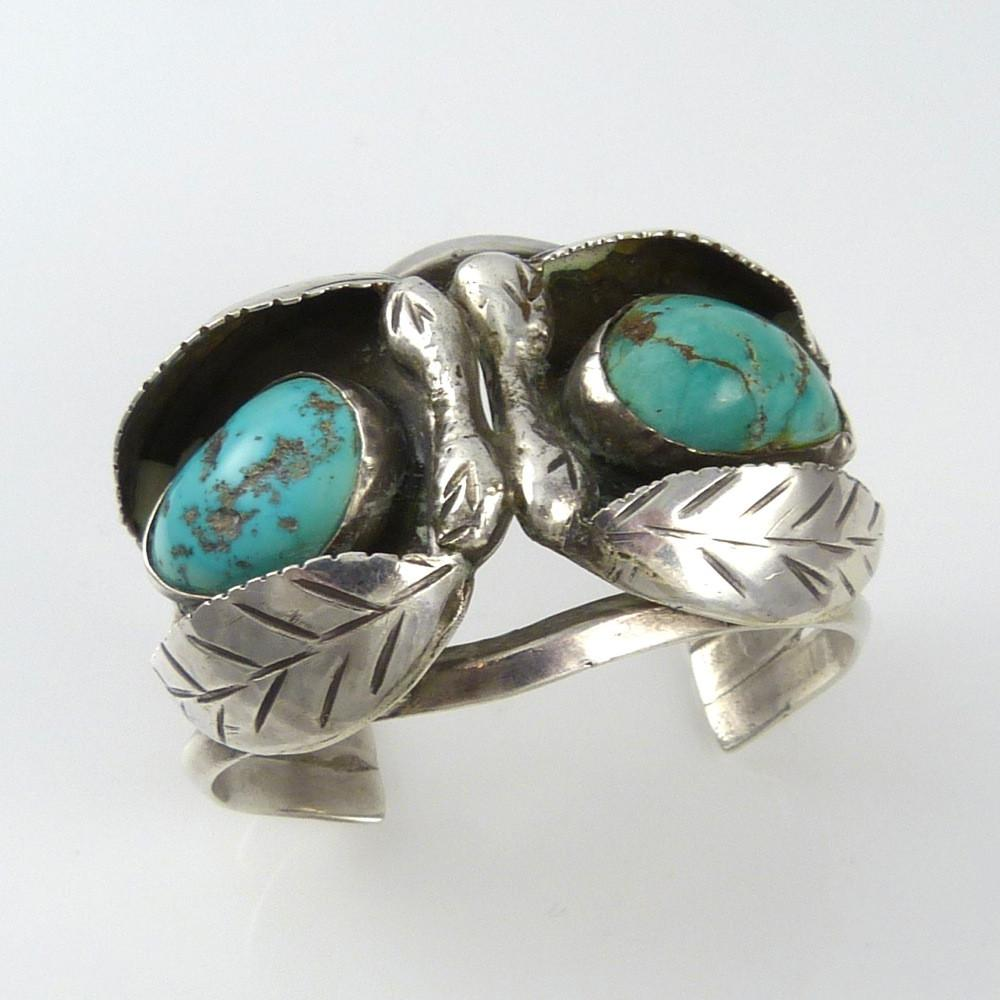 1970s Turquoise Leaf Cuff - Jewelry - Vintage Collection - 1