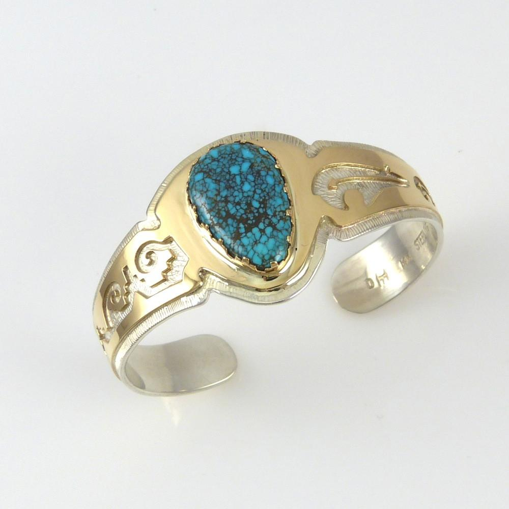 Lone Mountain Turquoise and Gold Cuff by Dina Huntinghorse