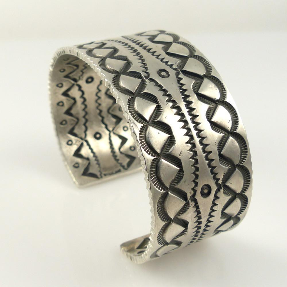 Double-Sided Stamped Silver Cuff - Jewelry - Stewart Yellowhorse - 1