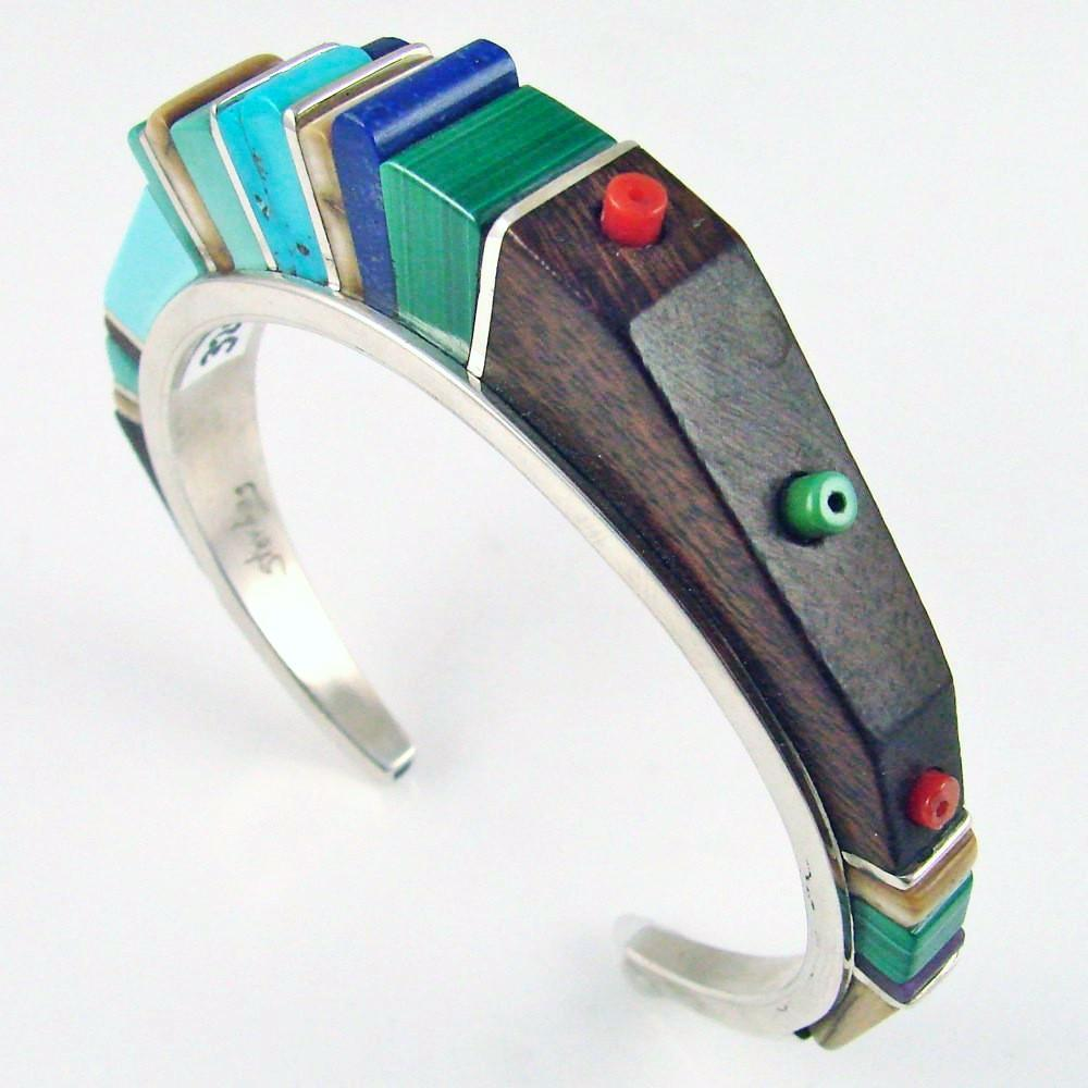 Silver Cuff with Multi-Stone Cobbled Inlay