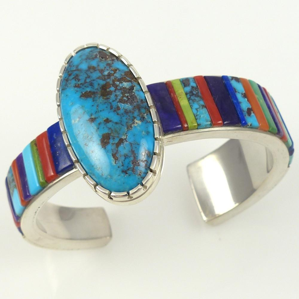 Bisbee Turquoise and Inlay Cuff - Jewelry - Noah Pfeffer - 1
