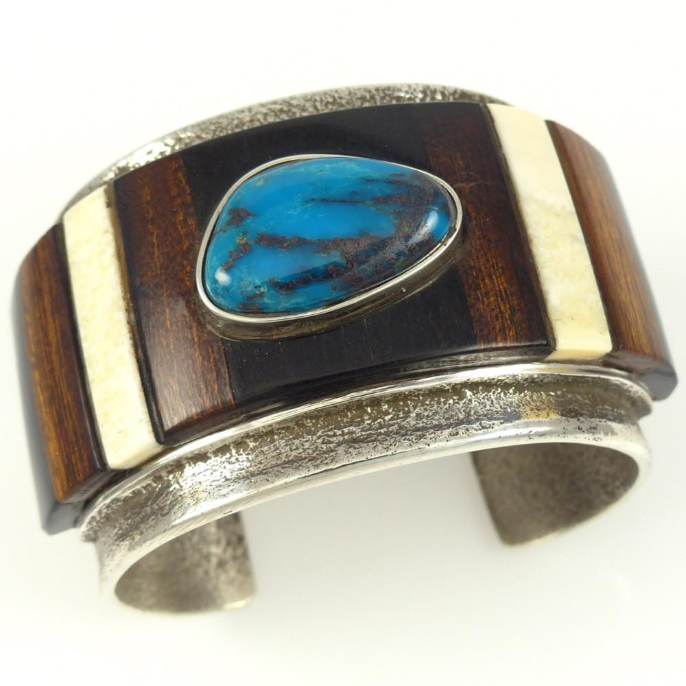 Bisbee Turquoise and Inlay Cuff - Jewelry - Edison Cummings - 1