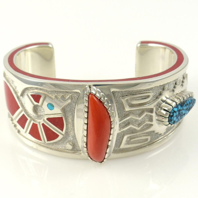 Kingman Turquoise and Coral Cuff - Jewelry - Michael Perry - 5