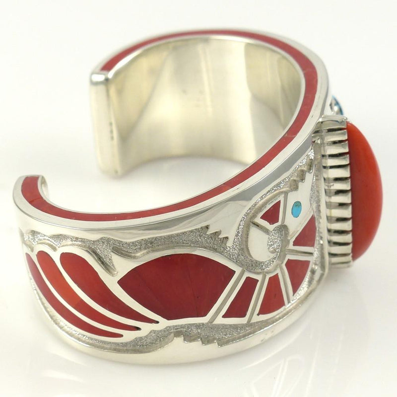 Kingman Turquoise and Coral Cuff - Jewelry - Michael Perry - 7