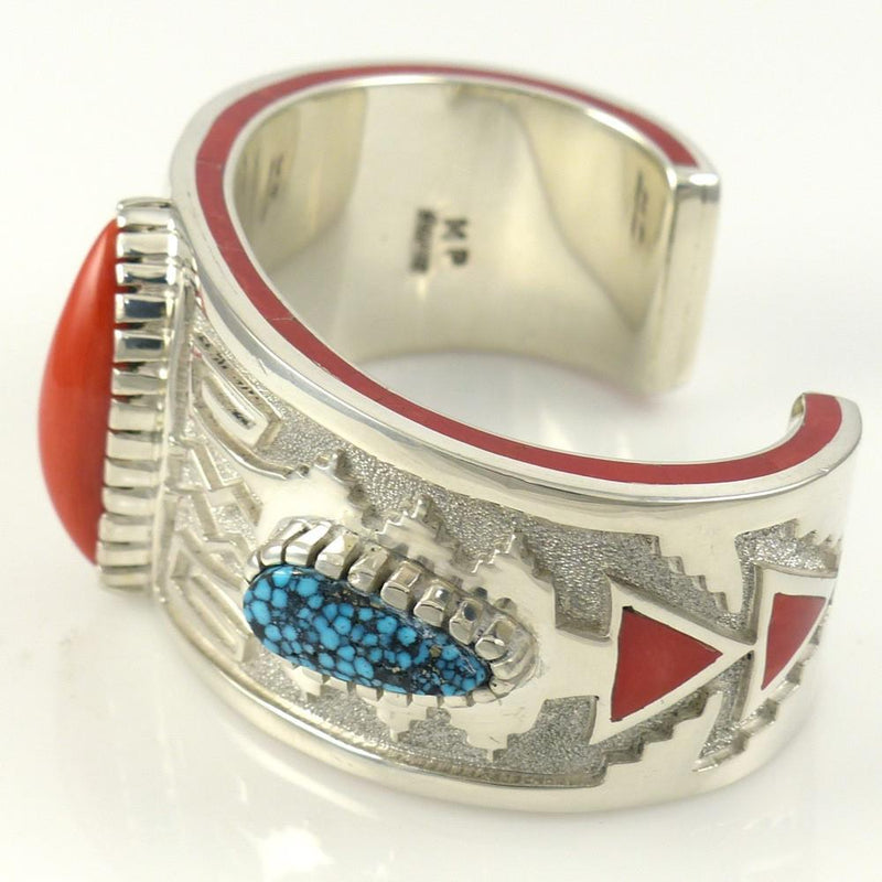 Kingman Turquoise and Coral Cuff - Jewelry - Michael Perry - 6