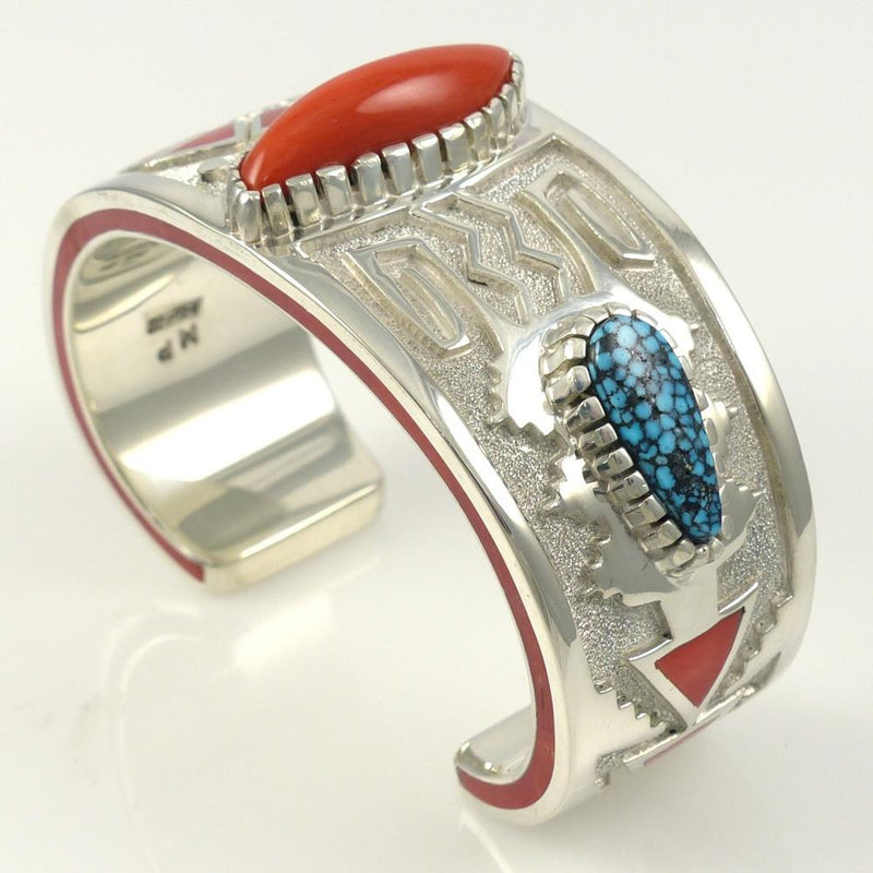 Kingman Turquoise and Coral Cuff - Jewelry - Michael Perry - 3