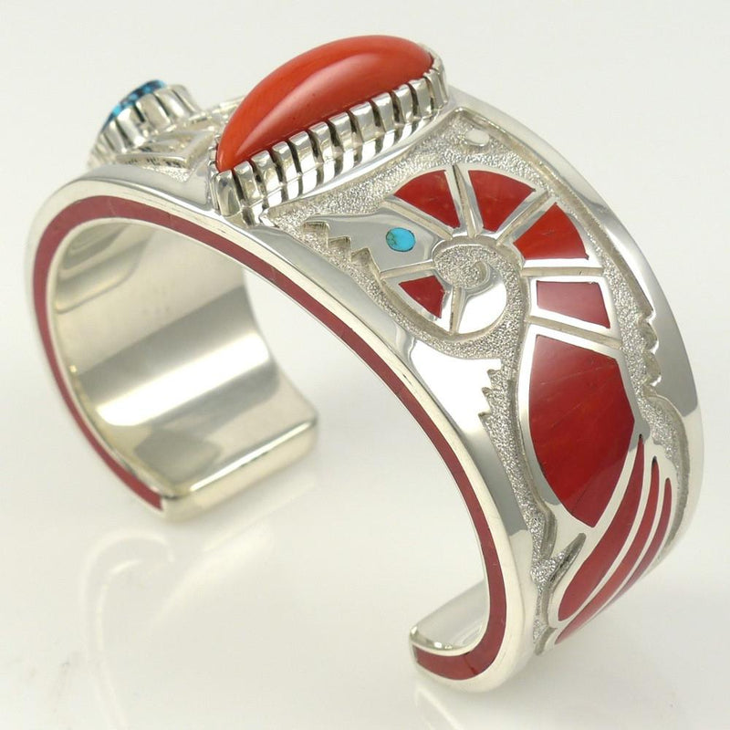 Kingman Turquoise and Coral Cuff - Jewelry - Michael Perry - 4
