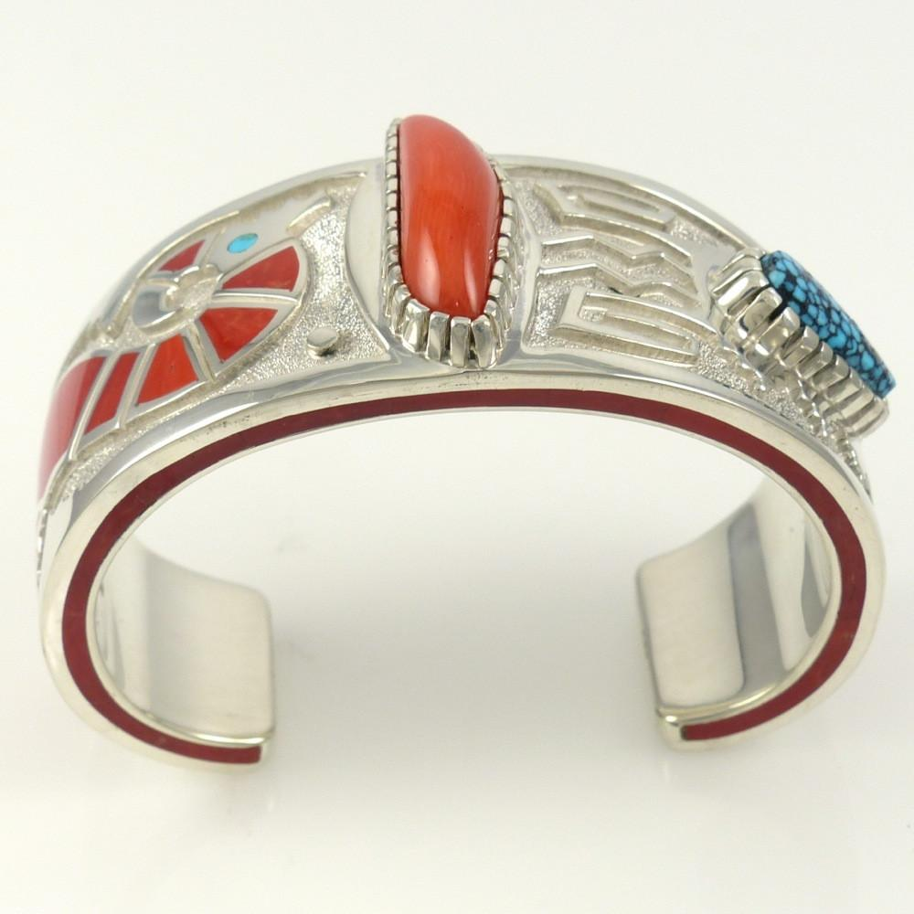Kingman Turquoise and Coral Cuff - Jewelry - Michael Perry - 1