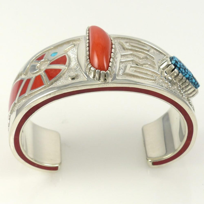 Kingman Turquoise and Coral Cuff - Jewelry - Michael Perry - 2
