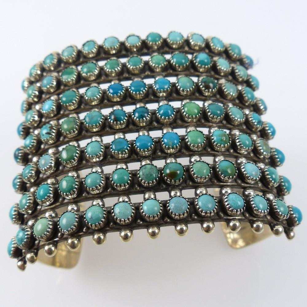 1970s Zuni Turquoise Row Cuff - Jewelry - Vintage Collection - 1