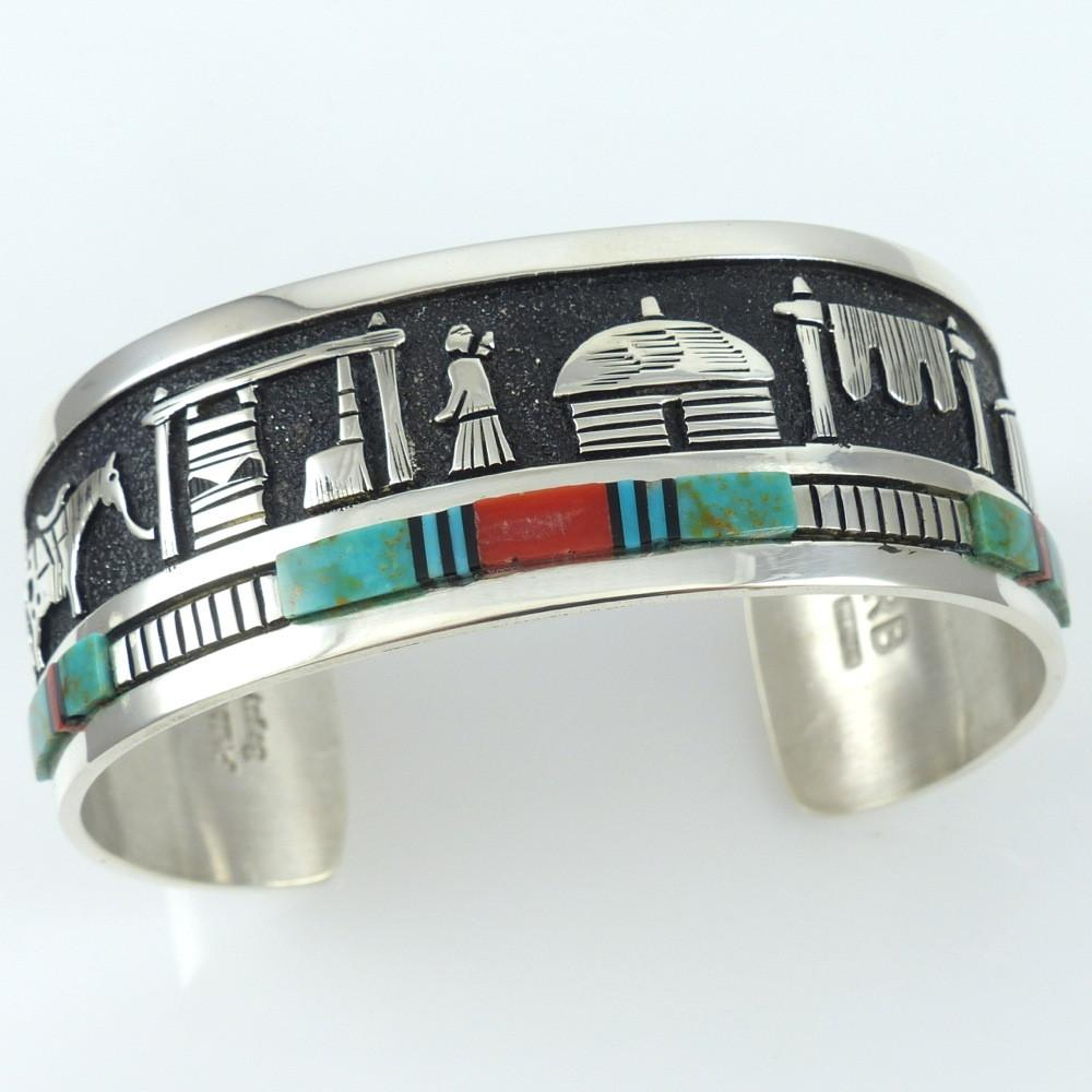 Inlaid Storyteller Cuff - Jewelry - Philbert Begay - 1