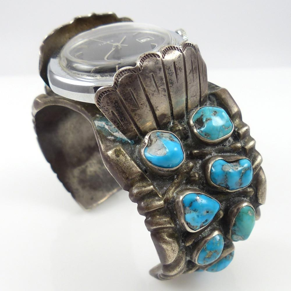 Vintage Watch Cuff with Turquoise - Jewelry - Vintage Collection - 1