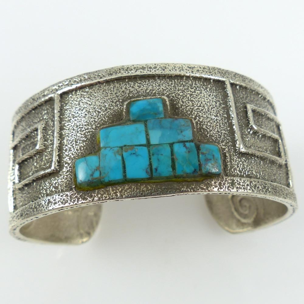 """Pueblo"" Cuff with Kingman Turquoise - Jewelry - Cordell Pajarito - 1"