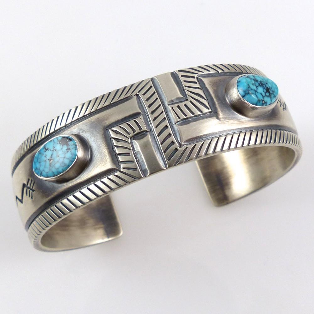 Spiderweb Kingman Turquoise Cuff - Jewelry - Allison Lee - 1
