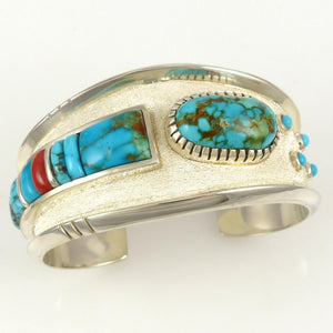 Candelaria Turquoise and Coral Cuff - Jewelry - Michael Perry - 1