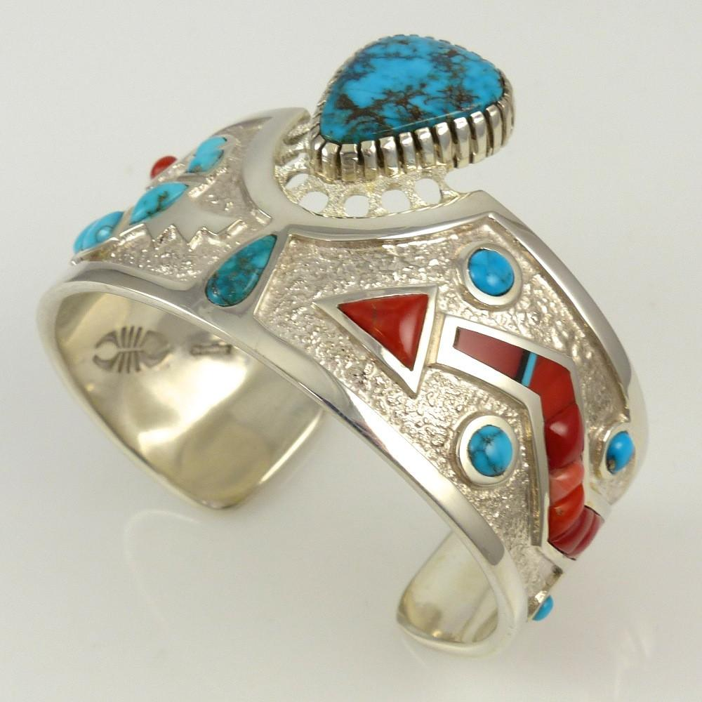 Turquoise and Coral Cuff - Jewelry - Michael Perry - 1