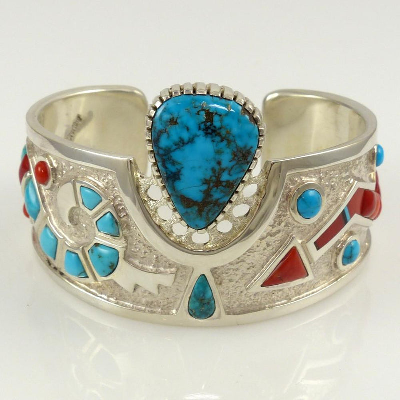 Turquoise and Coral Cuff - Jewelry - Michael Perry - 4