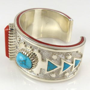Lone Mountain Turquoise and Coral Cuff - Jewelry - Michael Perry - 1