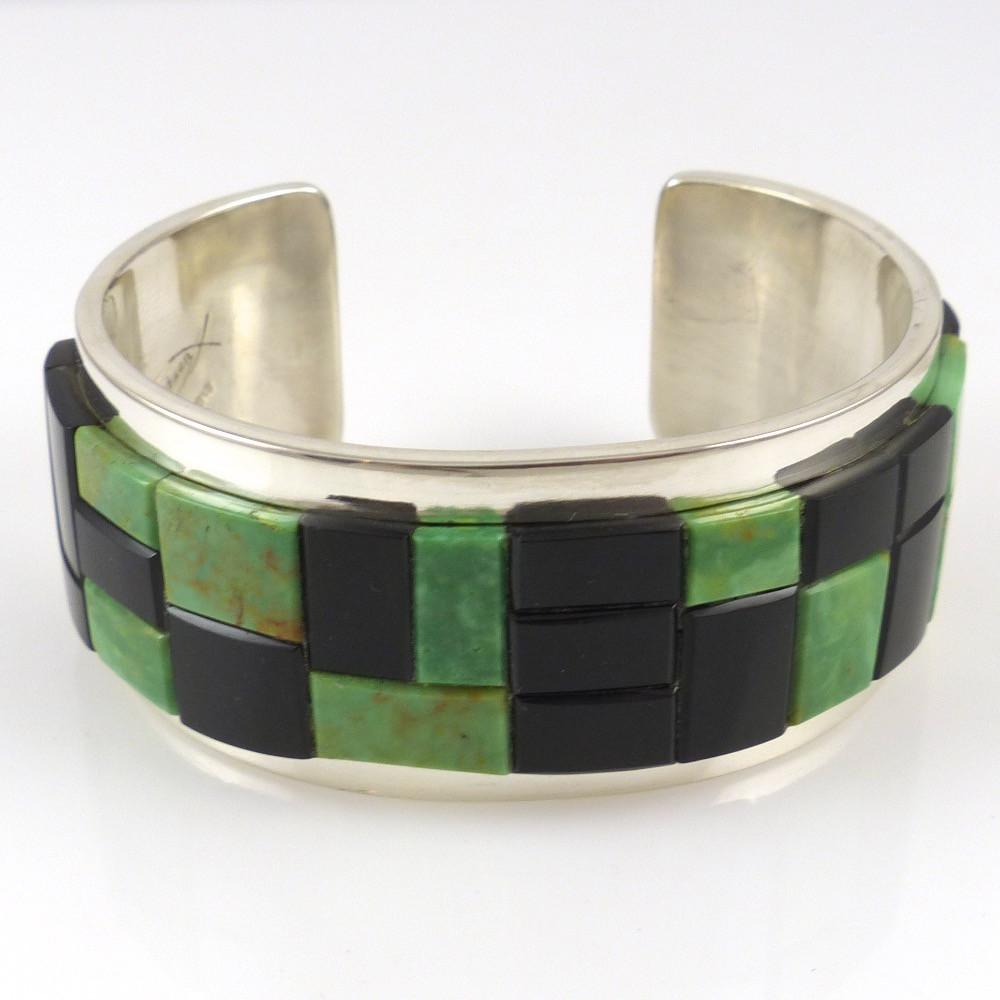 Nevada Green Turquoise and Black Jade Cuff - Jewelry - Tommy Jackson - 1