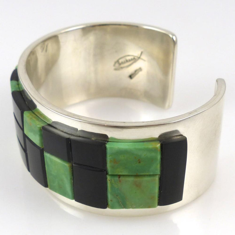 Nevada Green Turquoise and Black Jade Cuff - Jewelry - Tommy Jackson - 3