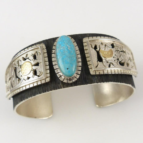 Kingman Turquoise Gold on Silver Cuff