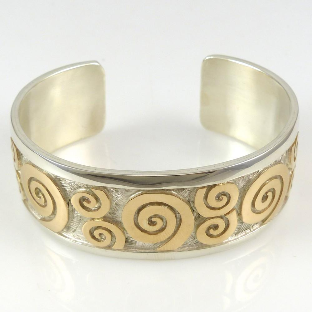 Gold on Silver Migration Cuff - Jewelry - Watson Honanie - 1