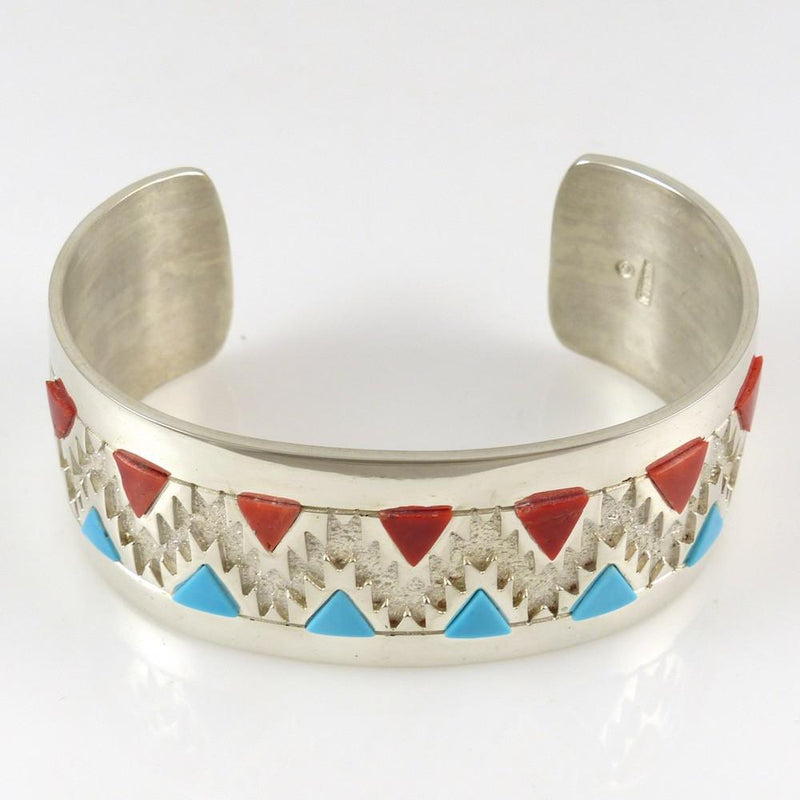 Turquoise and Coral Cuff - Jewelry - Rita Begay - 2