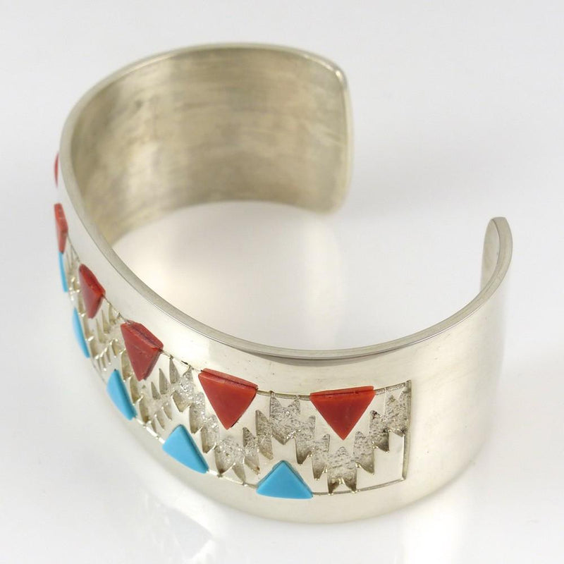 Turquoise and Coral Cuff - Jewelry - Rita Begay - 4