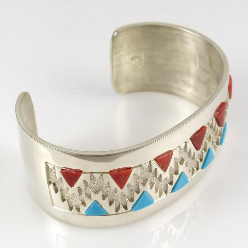 Turquoise and Coral Cuff - Jewelry - Rita Begay - 5