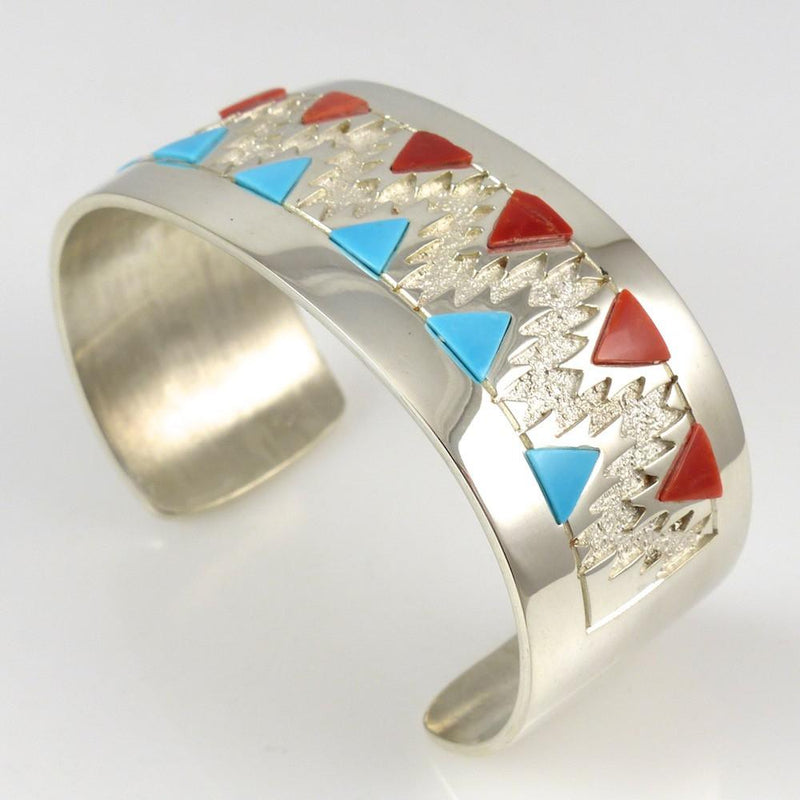 Turquoise and Coral Cuff - Jewelry - Rita Begay - 3