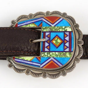 Mosaic Inlay Buckle - Jewelry - Valerie and Benny Aldrich - 1
