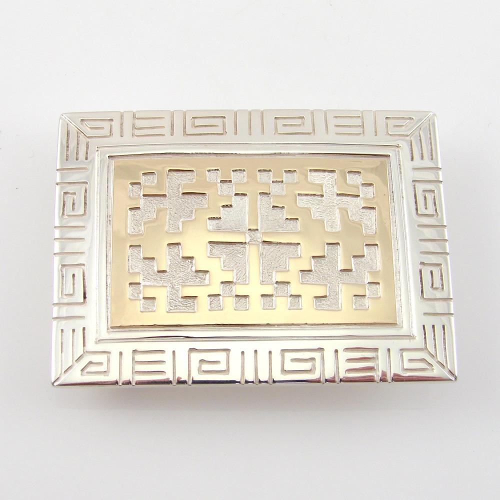 Gold and Silver Buckle with Navajo Rug Design - Jewelry - Robert Taylor - 1