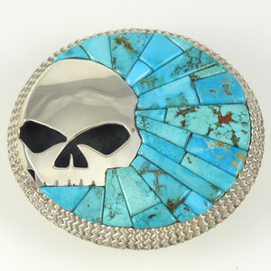 Candelaria Turquoise Skull Buckle - Jewelry - Alvin Yellowhorse - 1